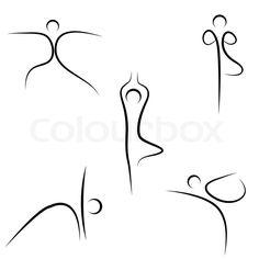 Girl doing yoga exercise | Vector | Colourbox