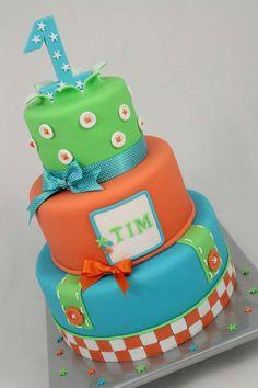 love the colors! Birthday cake boy