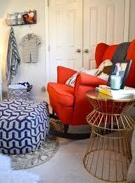 24 IKEA Strandmon chair is great for any nursery, it's a swinging chair and it's very comfortable - DigsDigs Bedroom Orange, Bedroom Red, Orange Nursery, Strandmon Chair, Big Girl Rooms, Boy Room, Kids Room, Ikea Nursery, Swinging Chair