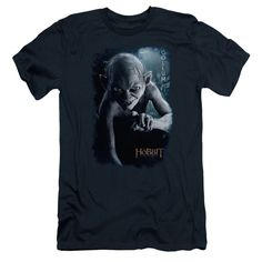 The Hobbit/Gollum Poster Short Sleeve Adult T-Shirt 30/1 in Navy