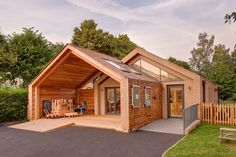 Wooden Structure Warm and Friendly Feel Defining St Mary's Infant School in Oxfordshire, England