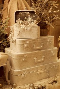 White Christmas Decorating Ideas  Paint hard luggage and decorate!