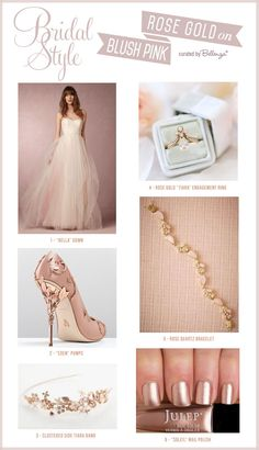 How to Match a Blush Pink Wedding Dress with Rose Gold Accessories // The Bellenza Wedding Blog #blushpink #rosegold