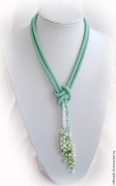 "Лариат ""Мятный"" #jewelry #handmade #necklace"