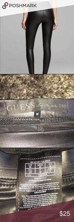 GUESS - Faux Leather Leggings Size Medium - GUESS faux leather leggings. Black. They are made out of elastic and spandex. Only wore once. These leggings are a bit wrinkled because they been sitting in my drawer for a while. They straighten right out once they are put on! Guess Pants Leggings
