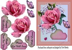 A lovely easy to make 3D card front that can be used for many many reasons. It does come with 4 nice sized labels for Happt Birthday, Please Get Well Soon, Sent With Love, and Made Just For You. and a blank to add your own greetings. Looks stunning when made up with its lovely pink rose and butterly. Enjoy