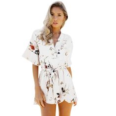 e58b0ea621b Playsuits   Rompers · ELSVIOS 2018 Women Print Lace Rompers Casual Jumpsuits  Summer Short Pleated Overalls Chest Wrap Strapless Beach