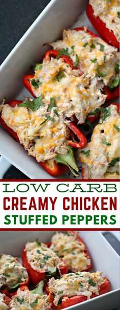 Low carb creamy chicken stuffed peppers macrofriendly lowcarbmeals 50 meals under 300 calories how to lose weight without starving! Healthy Chicken Recipes, Easy Healthy Recipes, Low Carb Recipes, Diet Recipes, Easy Meals, Low Carb Chicken Dinners, Lunch Recipes, Simple Low Carb Meals, Low Fat Dinner Recipes