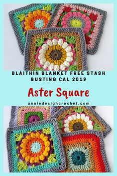 Easy relaxing Blanket Stash Busting CAL with Free Crochet Flower squares every 2 weeks.This flower square is richly textured and colourful, like the beautiful Aster flower, and it will make a lovely addition to your blanket! Crochet Flower Squares, Crochet Squares Afghan, Crochet Blocks, Granny Square Crochet Pattern, Afghan Crochet Patterns, Crochet Motif, Diy Crochet, Crochet Designs, Crochet Flowers