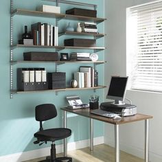 The Container Store > Driftwood & Platinum elfa Office Shelving & Desk - Very nice home office with elfa Elfa Shelving, Shop Shelving, Office Shelving, Office Shelf, Shelving Systems, Desk Shelves, Office Workspace, Home Office Desks, Office Storage