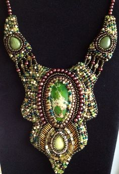 Green Sediment Jasper, Moss Agate, and Lemon Jade Bead Embroidery Necklace