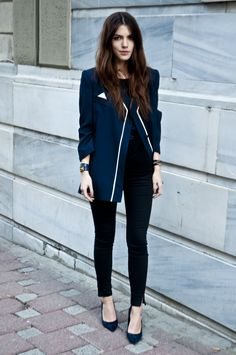 Vintage Navy Black jacket and Zara skinny's