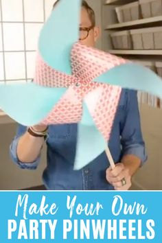 Learn how to make your own party pinwheels with this fun tutorial. #partypinwheels #summercraft Cute Kids Crafts, Fall Crafts For Kids, Craft Projects For Kids, Arts And Crafts Projects, Summer Crafts, Toddler Crafts, Diy For Kids, Winter Craft, Kid Crafts