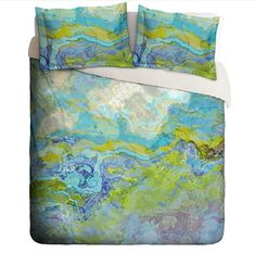 Duvet Cover with abstract art, king duvet cover or queen duvet cover in blue, green, aqua and white, contemporary bedroom decor Slip N Slide