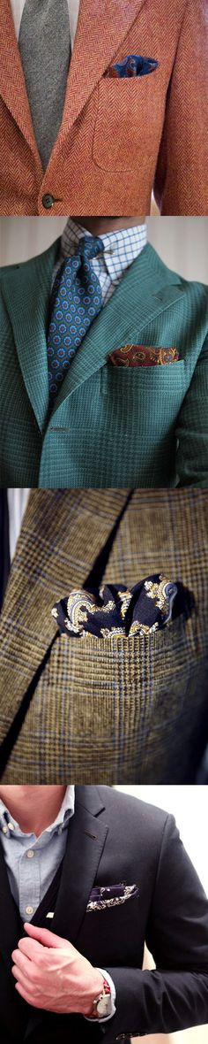 Pattern up your suits with paisley pocket squares.
