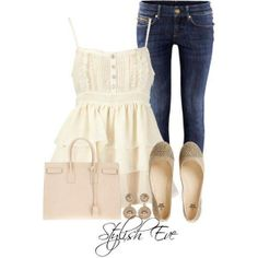 dress up a pair of jeans like this.  feminine fashion