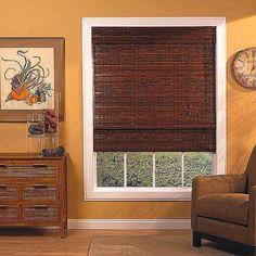 35 x 72 Kona Mahogany Woven Wood Bamboo Roman Shade, Brown