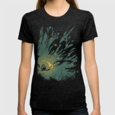 Zombie Shadows Womens Fitted Tee Tri-Black X-LARGE