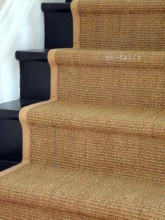 A sisal stair runner / interesting with the black painted stairs. Black Painted Stairs, Black Stairs, Wood Stairs, Basement Stairs, Entry Stairs, Hallway Carpet Runners, Carpet Stairs, Stairs With Carpet Runner, Staircase Runner