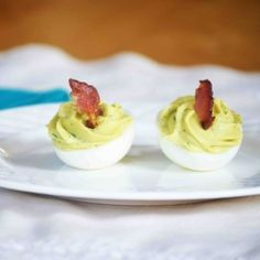 Avocado Bacon Ranch Deviled Eggs.... mayoless! Probably the best deviled egg I've ever eaten... I had a whole plate!