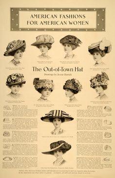 1910 Print Fashion Hats Women Out Town Lingerie Garden ORIGINAL HISTORIC IMAGE