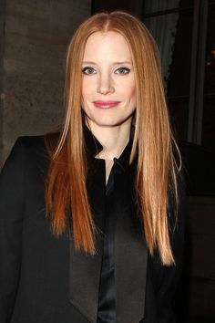 Jessica Chastain's super-straight locks - celebrity hair and hairstyles