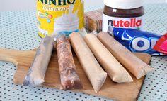 Aprenda a Fazer 5 Sabores de Geladinho Cremoso, um Mais Delicioso que o Outro! (veja a receita passo a passo) Nutella, Dim Dim Gourmet, Pasta Facil, Ice Candy, Ice Blocks, Oreo, Frozen Fruit, Churros, Ice Cream Recipes