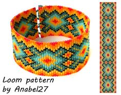 Bead loom pattern - Square stitch pattern -  ethnic style - bracelet pattern  - beaded pattern #99