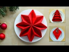 Napkin folding for christmas: Star, Christmas Tree, Pocket - 3 different techniques - DIY Folding napkins: Christmas – making ideas for table decorations – making Christmas decorations Christmas Napkin Folding, Paper Napkin Folding, Christmas Tree Napkins, Christmas Table Decorations, Christmas Star, Christmas Crafts, Paper Napkins, Tree Decorations, Christmas Ideas