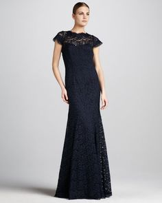 Open-Back Lace Gown - Neiman Marcus   great mother of the bride dress