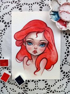 Watercolor postcard of the little mermaid in my Etsy https://www.etsy.com/shop/BlackFuryArt