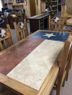 Texas Flag Dining Room Table and Chairs
