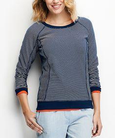 Look what I found on #zulily! French Vanilla & Navy Stripe Raglan Sweatshirt by Hanna Andersson #zulilyfinds