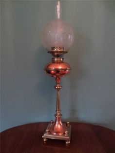 ANTIQUE-1904-BRASS-COPPER-PRESENTATION-OIL-LAMP-WITH-FINE-ETCHED-GLOBE-SHADE