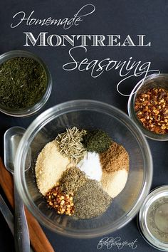 An easy and inexpensive recipe for Homemade Montreal Seasoning, the KING of summer grilling spices! Make Ahead Freezer Meals, Easy Meals, Spice Mixes, Spice Blends, Bulk Food, Inexpensive Meals, Quick Recipes, Delicious Recipes, Seasoning Mixes
