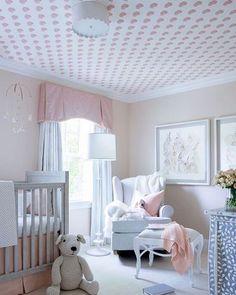 Airy Family Home Inspired by Nancy Meyers Films A bright nursery decorated in pink hues Nursery Wall Decor, Nursery Design, Nursery Room, Girl Nursery, Girls Bedroom, Bedroom Ideas, Pottery Barn Nursery, Nursery Ideas, Project Nursery