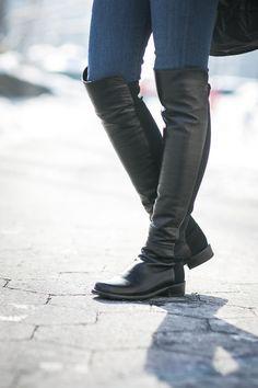 black leather knee-high :: by Stuart Weitzman Stuart Weitzman, 5050 Boots, Ankle Boots, Combat Boots, Winter Boots Outfits, Outfit Winter, Winter Leather Jackets, Wendy's Lookbook, Tents
