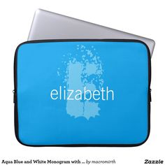 Aqua Blue and White Monogram with Name Laptop Sleeve