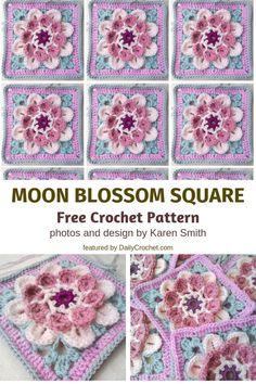 Free Crochet Patterns: Cutest Flower Crochet Afghan Square Ever! Hexagon Crochet Pattern, Crochet Flower Squares, Crochet Poppy, Crochet Squares Afghan, Crochet Quilt, Crochet Blocks, Crochet Flower Patterns, Afghan Crochet Patterns, Crochet Motif