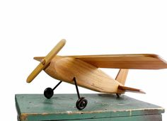 Vintage Wooden Airplane Folk Art Toy Plane by DairyFarmAntiques, $48.00