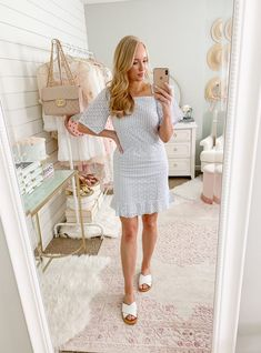 Feminine Summer dress paired with cute white sandals. Chic and classy outfit ideas! #femininefashion #cutedress Classy Business Outfits, Classy Outfits For Women, Affordable Clothes, Affordable Fashion, Spring Summer Fashion, Autumn Winter Fashion, Day Date Outfits, Summer Outfits, Chic Summer Style