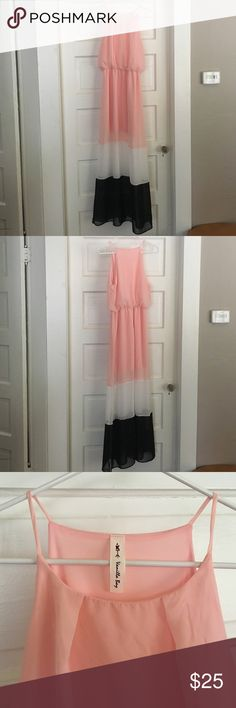 Beautiful long dress Super cute long dress. Pink, white, and black! Has a slip to the mid thigh/knees and then is shear material. Hardly worn, perfect condition Vanilla Bay Dresses