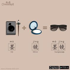 "In , is ""inky mirror"". While ""sun glasses"" 太阳镜(tài yáng jìng) is also a valid expression, ""inky mirror"" is much more commonly used in daily life👓"