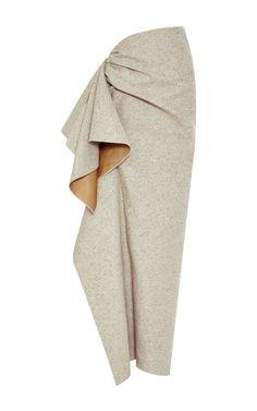 Speckled Grey Side Ruffle Skirt by Rosie Assoulin - Moda Operandi