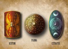 Roman shields:  Scutum - Parma - Cetratus They might be able to carry different shields for each soldier and provide names of shields in the end for extra information