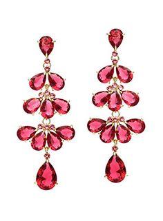18K or jaune rempli de fleurs Ruby Pink Topaz zircon améthyste Femmes Boucles D/'oreilles