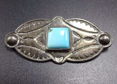 Signed Vintage 1950s NAVAJO Hand-Stamped Sterling Silver & Turquoise PIN/BROOCH
