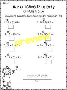 Associative property of multiplication freebie 1st Grade Math, Kindergarten Math, Teaching Math, Third Grade, Math Math, Grade 1, Maths, Properties Of Multiplication, Multiplication Strategies