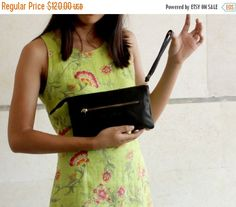 Holiday Sale Black leather wristlet wallet , Leather wallet women's in black , Leather wristlet clutch by BarLeather on Etsy