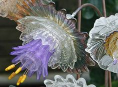glass flowers made from upcycled glass plates and bowls